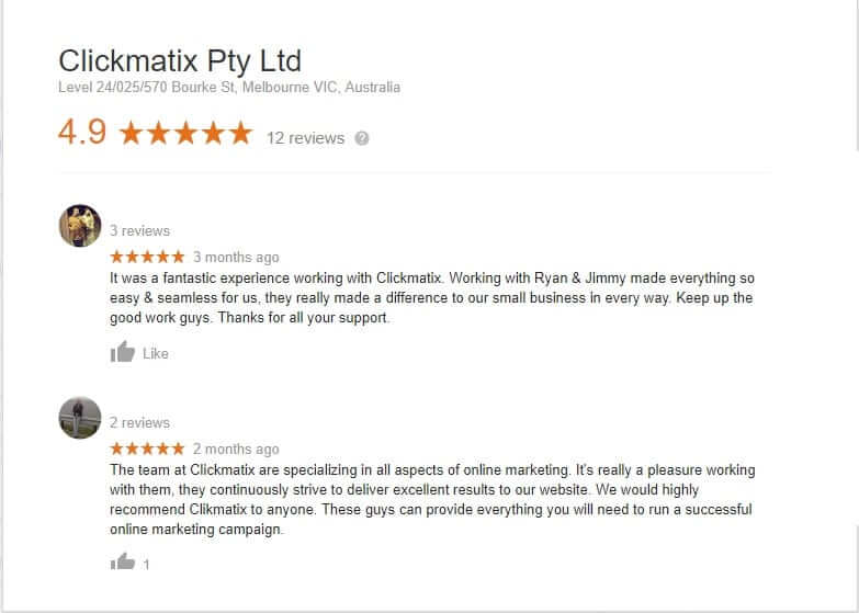 Client Review on Clickmatix 4.9/5