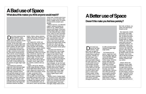 white space - user experience